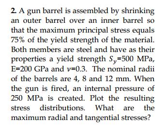 2 A Gun Barrel Is Assembled By Shrinking An Outer