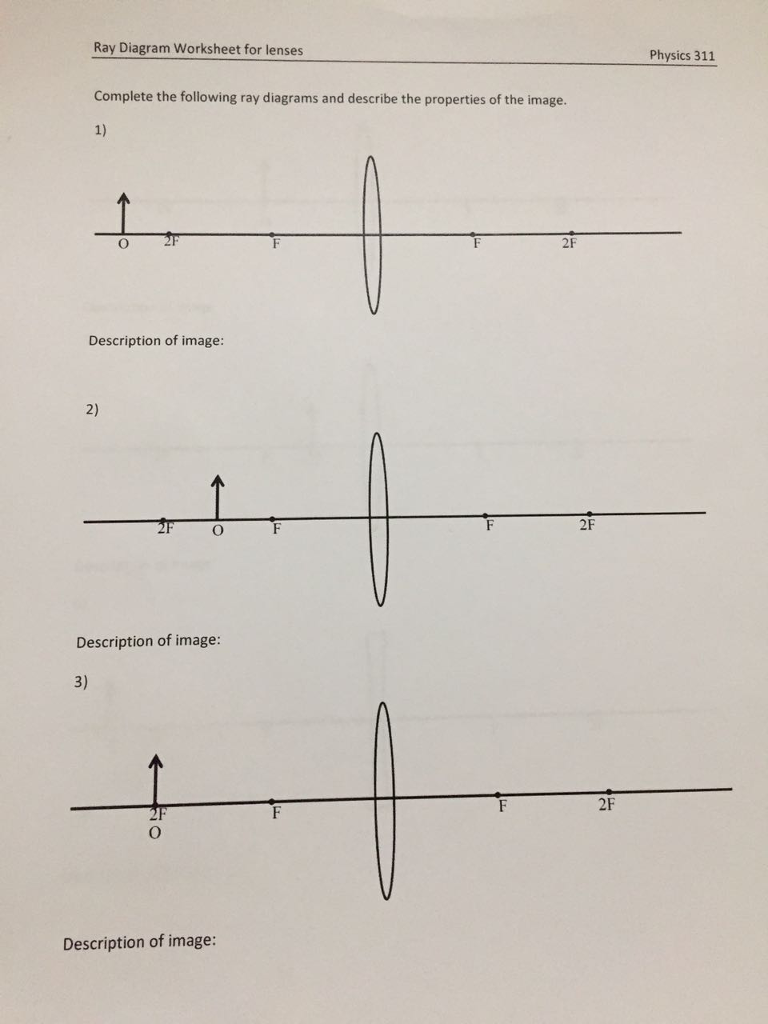 Solved ray diagram worksheet for lenses physics 311 compl question ray diagram worksheet for lenses physics 311 complete the following ray diagrams and describe the ccuart Gallery