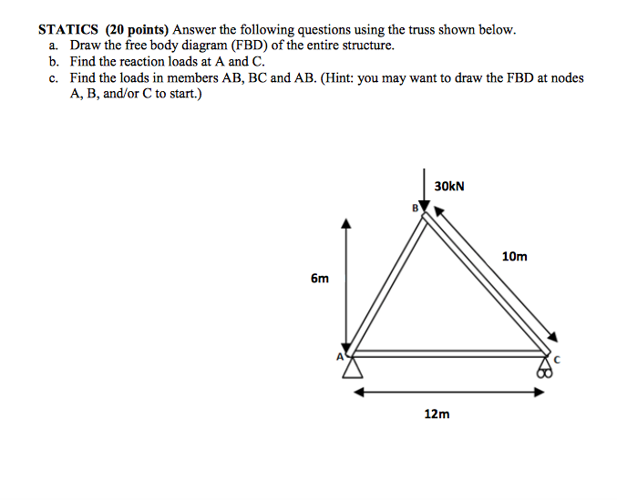 Free body diagrams questions with answers electrical drawing solved answer the following questions using the truss sho rh chegg com free body diagram questions ccuart Choice Image