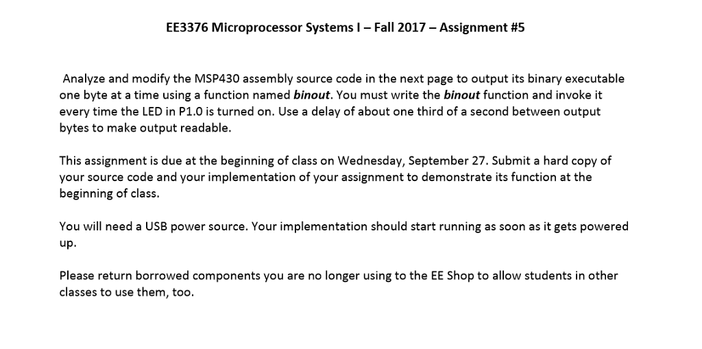 EE3376 Microprocessor Systems L-Fall 2017-Assignme