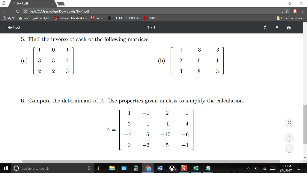 Solved: Find The Inverse Of Each Of The Following Matrices