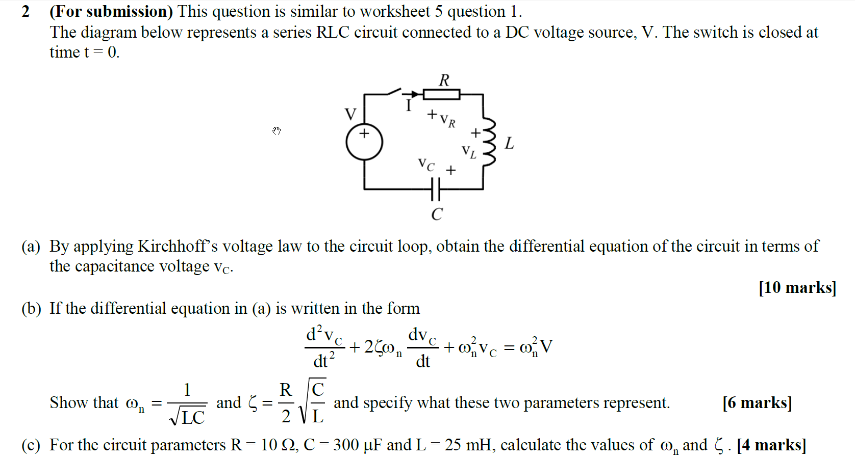 Circuit Diagram Worksheet Solved This Question Is Similar To 5 1 The Below Represents A Series Rlc Cir