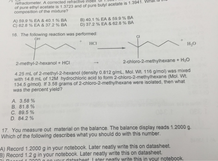 Question The Following Reaction Was Performed 4 25 ML Of 2 Methyl Hexanol Density 0812 G Mol Wt