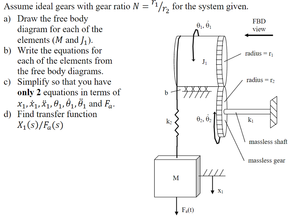 Solved: 1/r) For The System Given  Assume Ideal Gears With