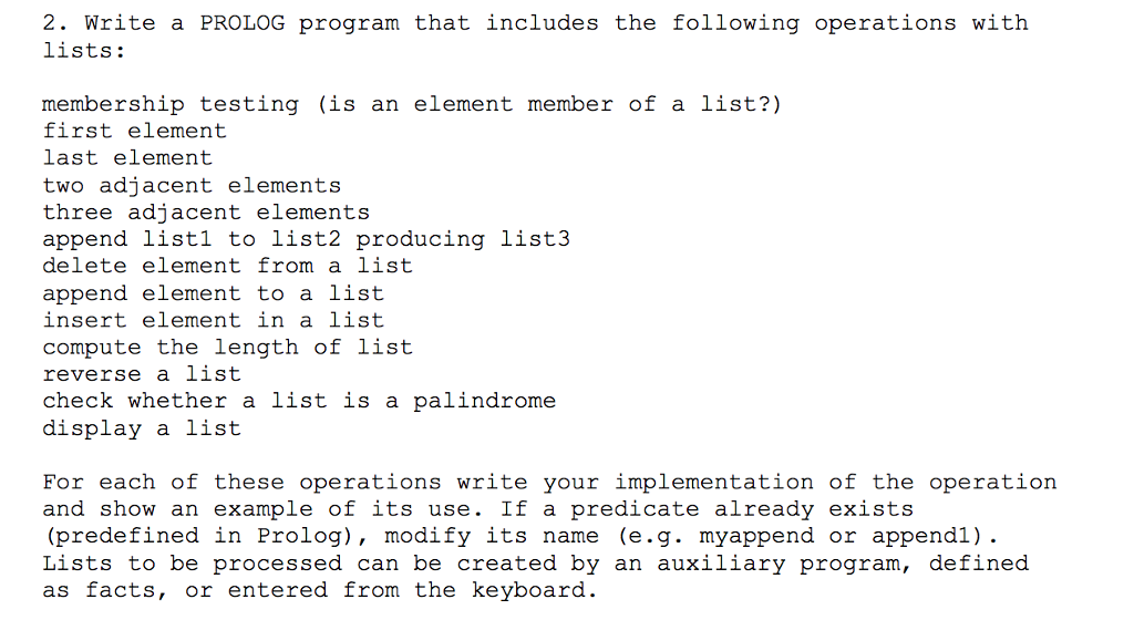 Solved Write A Prolog Program That Includes The Following