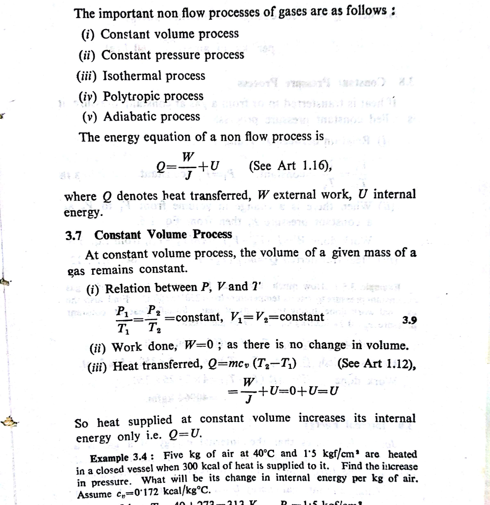 Air Flow Force Equation: Solved: The Important Non Flow Processes Of Gases Are As F