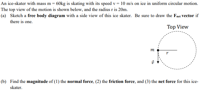 Solved an ice skater with mass m 60kg is skating with it an ice skater with mass m 60kg is skating with its speed v 10 ccuart Image collections