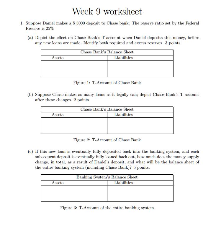 Solved: Week 9 Worksheet WOrKShee 1  Suppose Daniel Makes