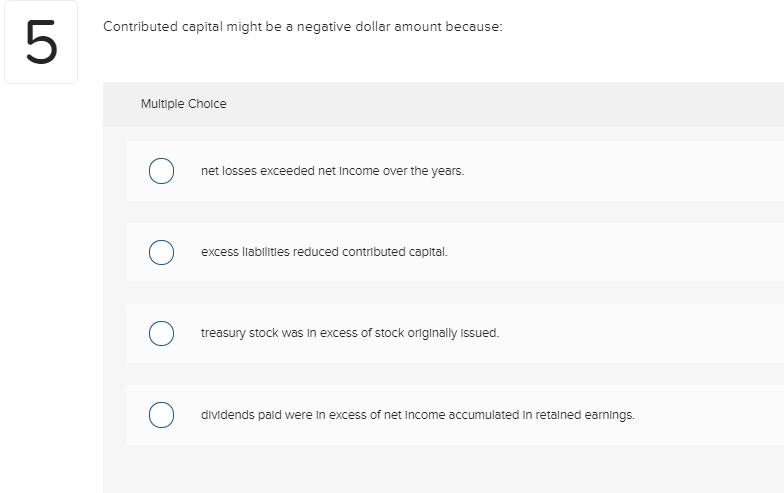 Solved: 5 Contributed Capital Might Be A Negative Dollar A