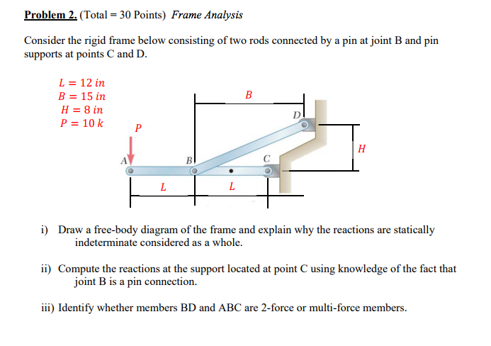 Solved: Consider The Rigid Frame Below Consisting Of Two R ...