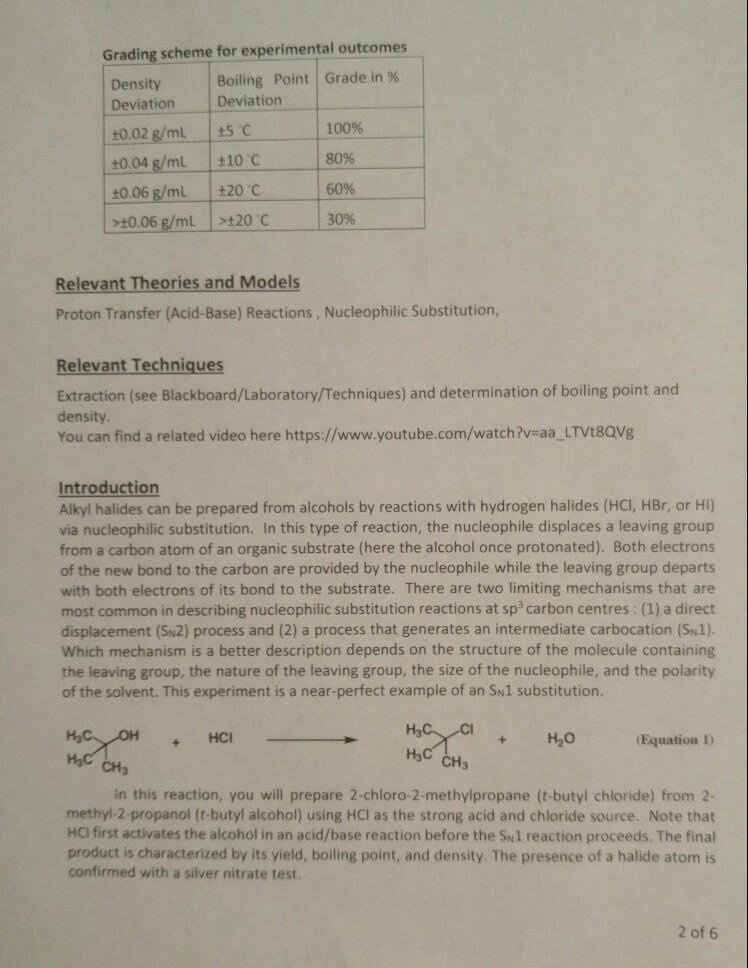 Solved: Grading Scheme For Experimental Outcomes Density D