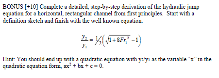 BONUS [+10] Complete A Detailed, Step By Step Derivation Of