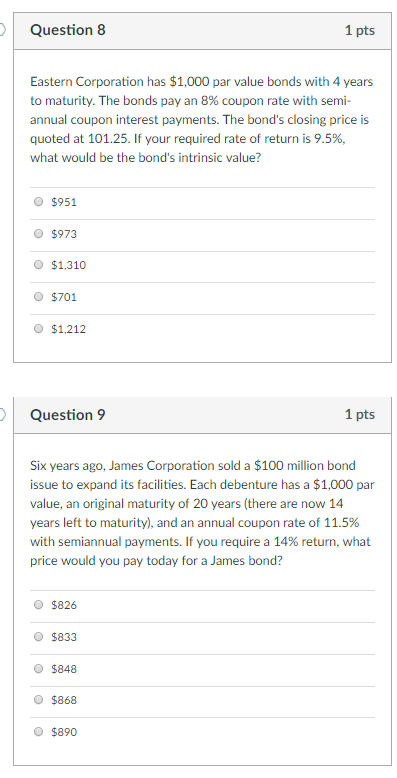 solved question 8 1 pts eastern corporation has 1 000 pa