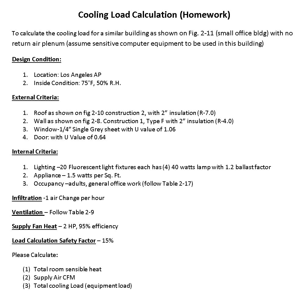 Cooling load calculation homework to calculate the cooling load for a similar building as
