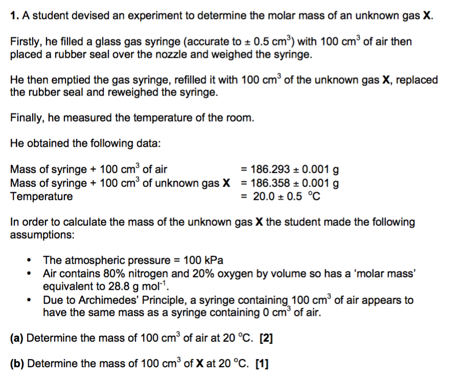 how to determine molar mass of a gas