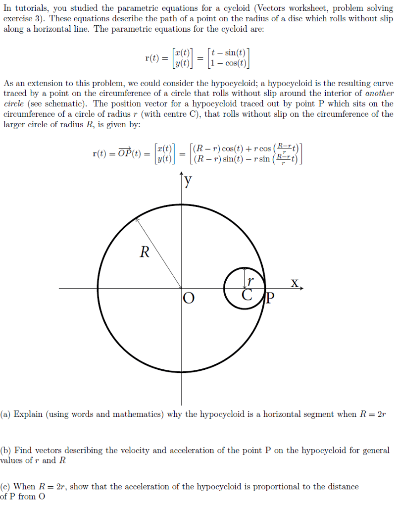 Worksheets Parametric Equations Worksheet solved in tutorials you studied the parametric equations for a cycloid vectors worksheet problem