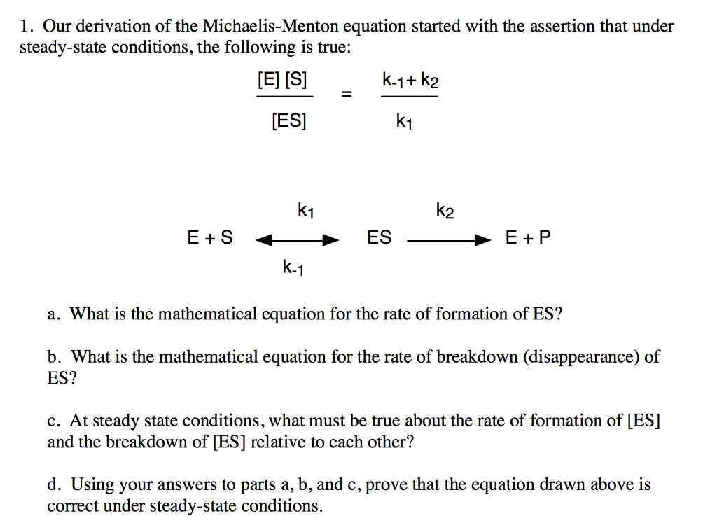 Solved: 1. Our Derivation Of The Michaelis-Menton Equation ...