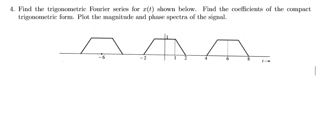 4. Find the trigonometric Fourier series for r(t) shown below. Find the coefficients of the compact trigonometric form. Plot the magnitude and phase spectra of the signal. -6 2 4