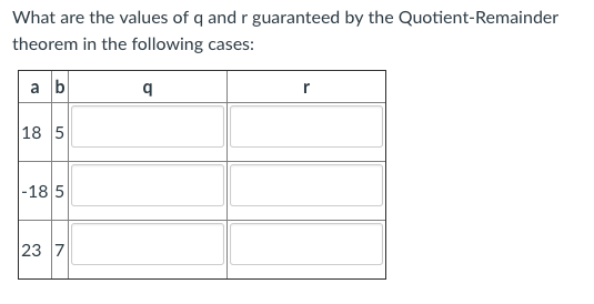 What are the values of q and r guaranteed by the Quotient-Remainder theorem in the following cases: 18 5 185 23 7