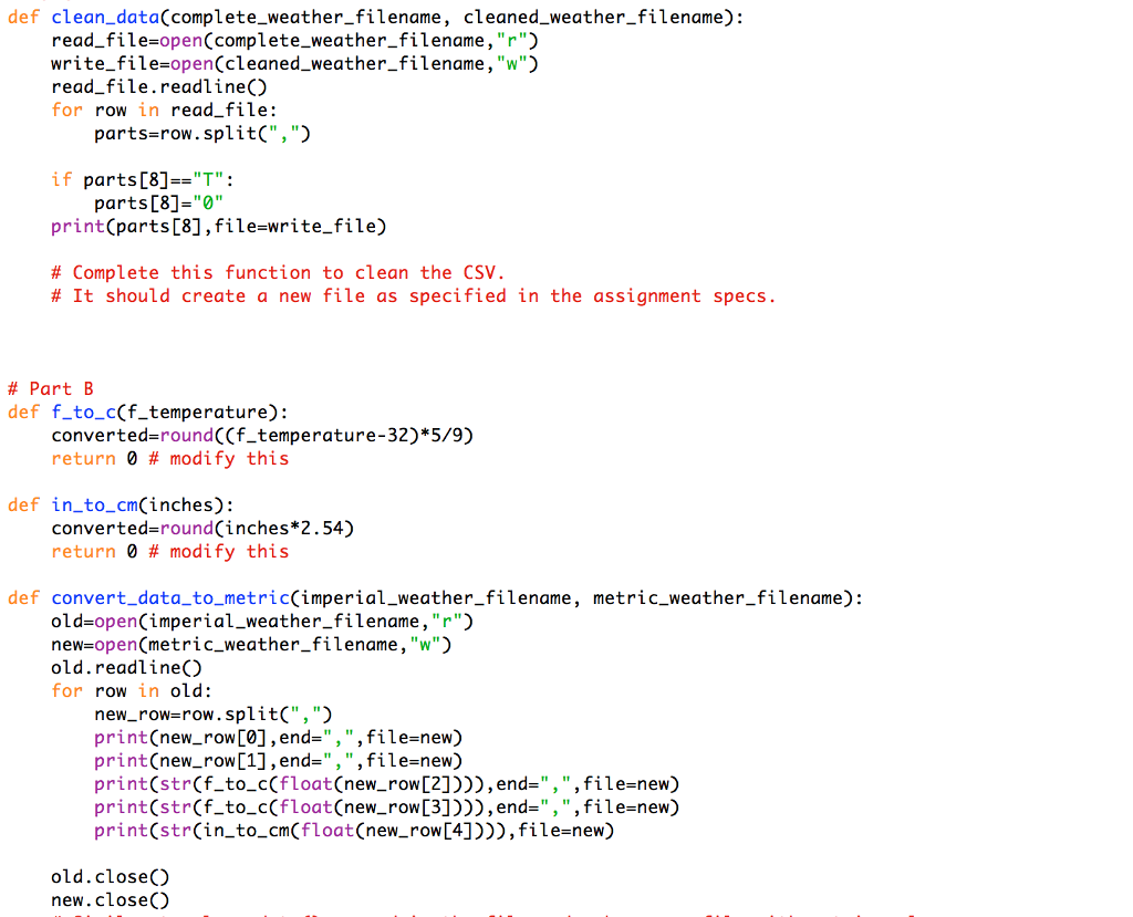 In Python Here Is What I Got So Far For Part A And