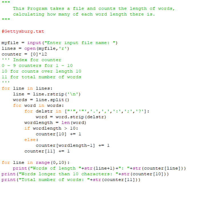 1 This Program takes a file and counts the length of words, calculating how  many