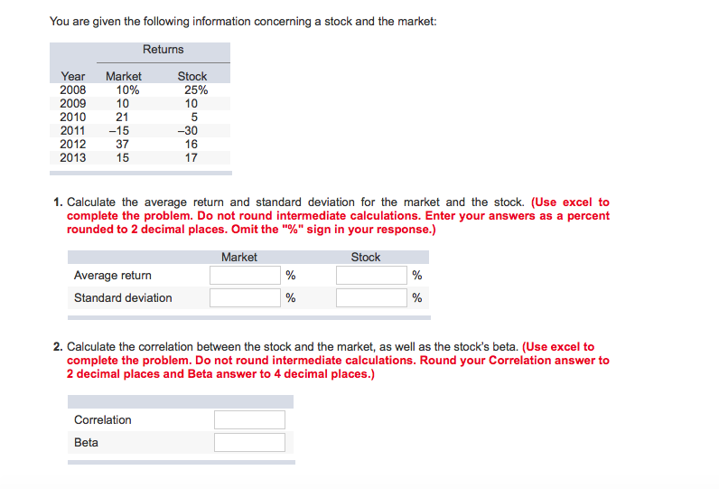 Solved: 1  Calculate The Average Return And Standard Devia
