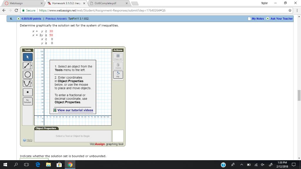 Solved: 0 WebAssign XY Homework 3 1/3 2: Inequ X 6 Oct6Com