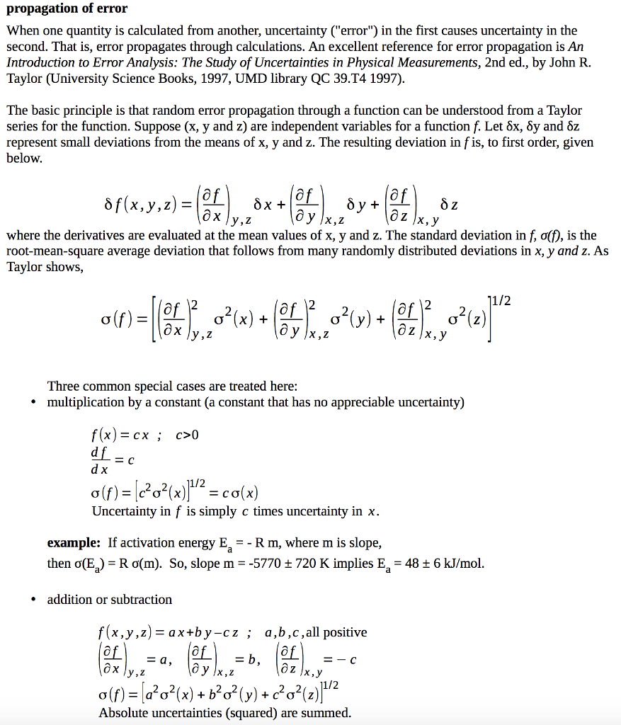 propagation of error When one quantity is calculated from another,  uncertainty (error) in