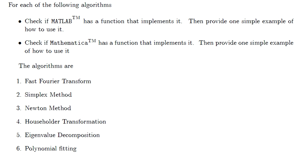 For Each Of The Following Algorithms   Check If MA