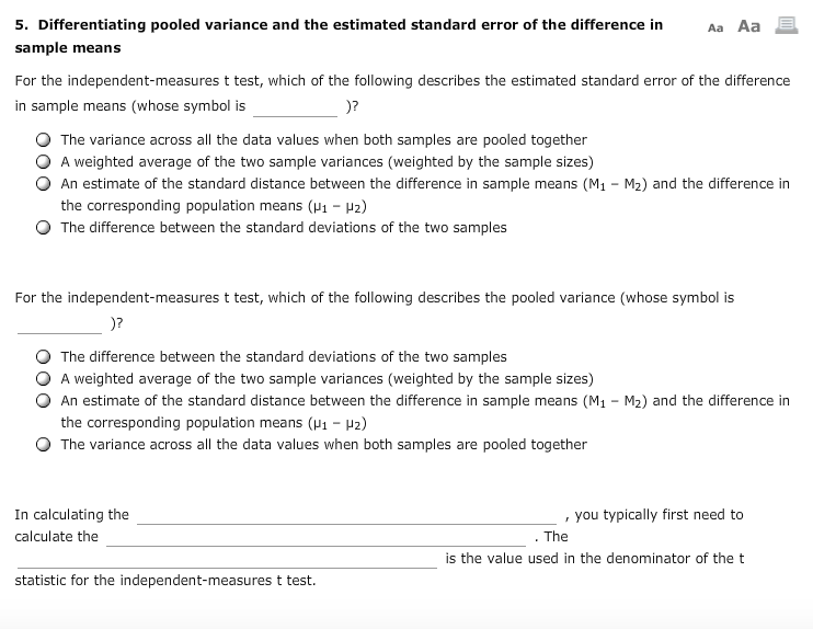Solved 5 Differentiating Pooled Variance And The Estimat