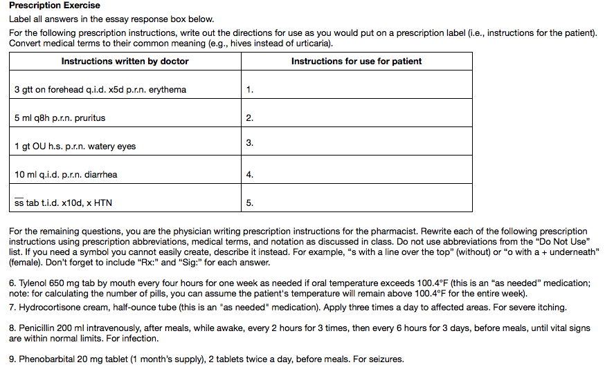 solved prescription exercise label all answers in the ess