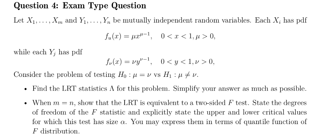Question 4: Exam Type Question Let X1,   , Xm And     | Chegg com