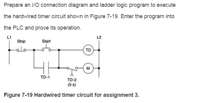 Ladder diagram of timer circuit diagram symbols solved prepare an i o connection diagram and ladder logic rh chegg com ladder diagram timer examples ladder logic timer ccuart Choice Image