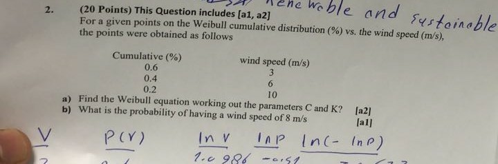 2. (20 Points) This Question includes [a1, a2] ene Weble and ustaiable For a given points on the Weibull cumulative distribution (%) vs. the wind speed (ms), the points were obtained as follows Cumulative (%) 0.6 0.4 0.2 wind speed (m/s) 10 a) Find the Weibull equation working out the parameters C and K? b) What is the probability of having a wind speed of 8 m/s [a2] la1l P CY) 2
