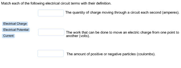 match each of the following electrical circuit ter