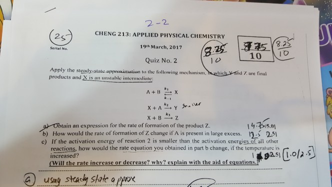Solved: 2-2 CHENG 213: APPLIED PHYSICAL CHEMISTRY 19th Mar