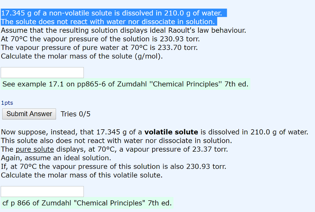 Solved: 17.345 G Of A Non-volatile Solute Is Dissolved In ...