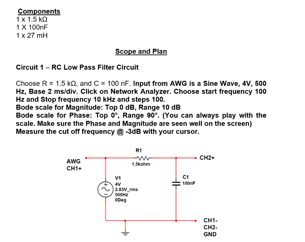 Solved Analog Discovery Circuit Im Having Trouble Buildi Rc Low Pass Filter Components 1 X 15 K 100nf 27 Mh Scope And Plan
