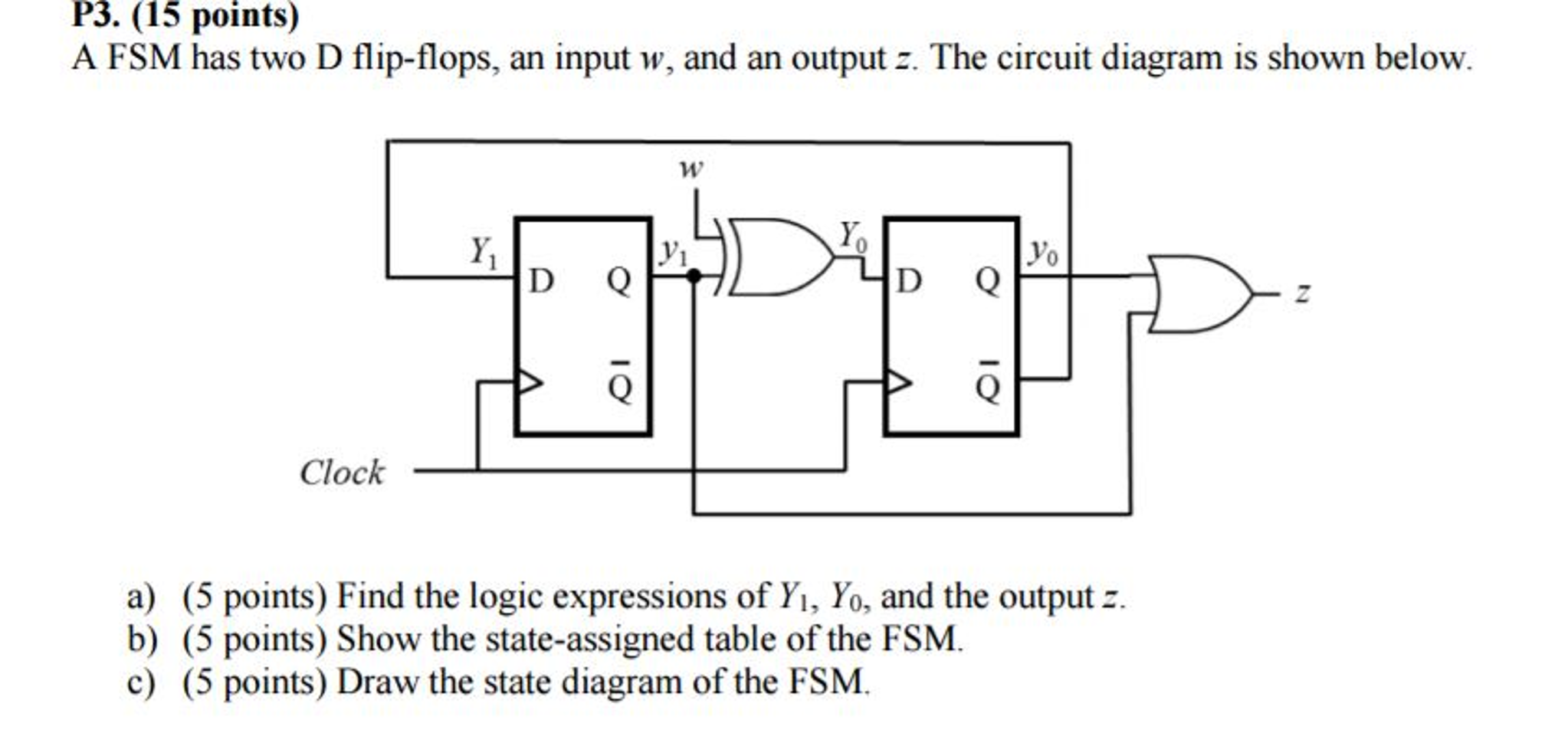 A FSM has two D flip-flops, an input w, and an out