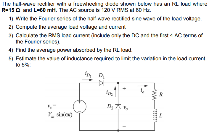 Solved: The Half-wave Rectifier With A Freewheeling Diode