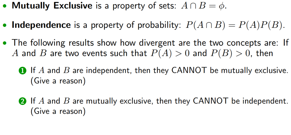 Question: Mutually Exclusive Is A Property Of Sets: A Intersection B U003d Phi.  Independence Is A Property Of .