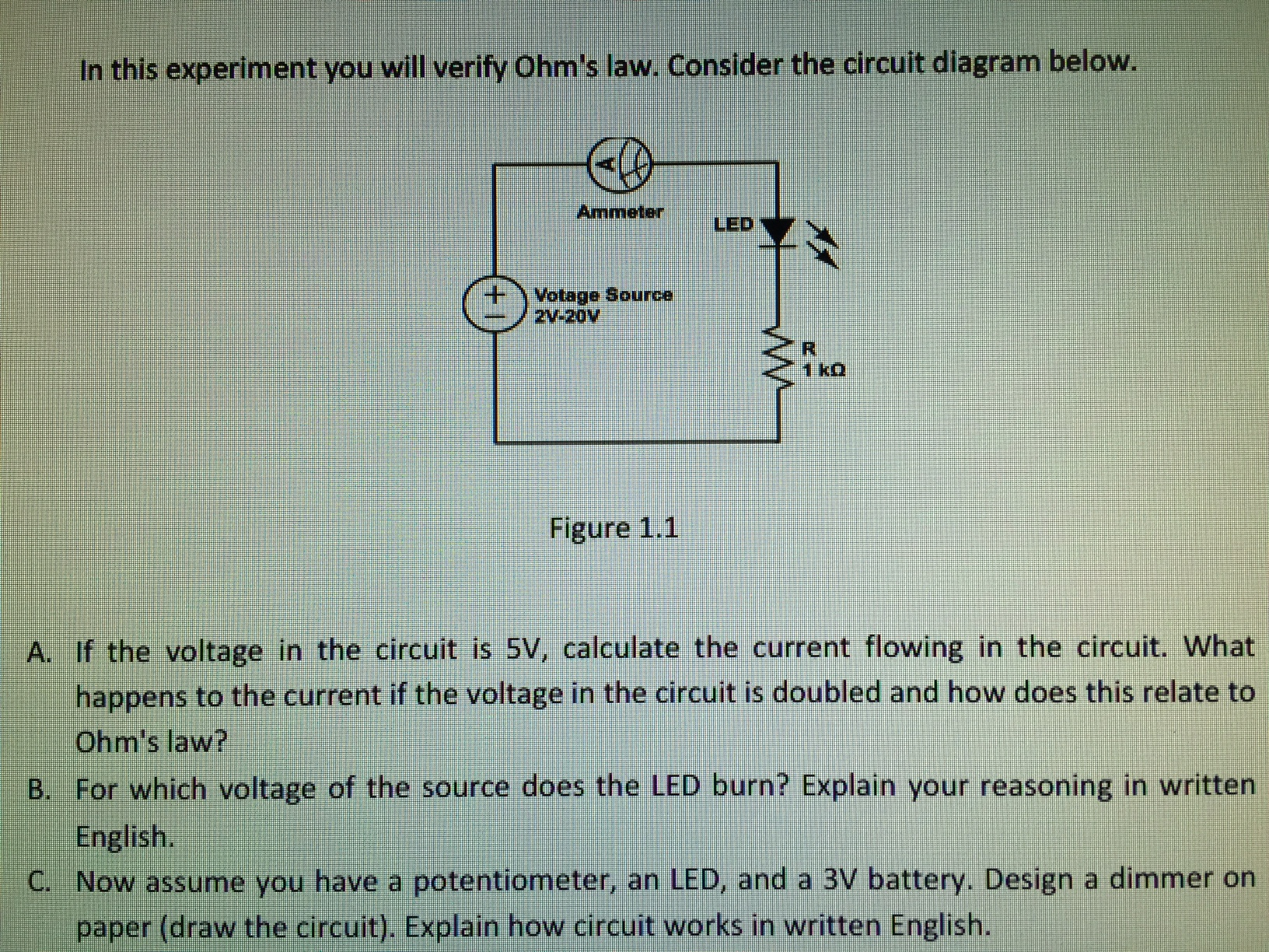 Solved: In This Experiment You Will Verify Ohm\'s Law. Cons ...