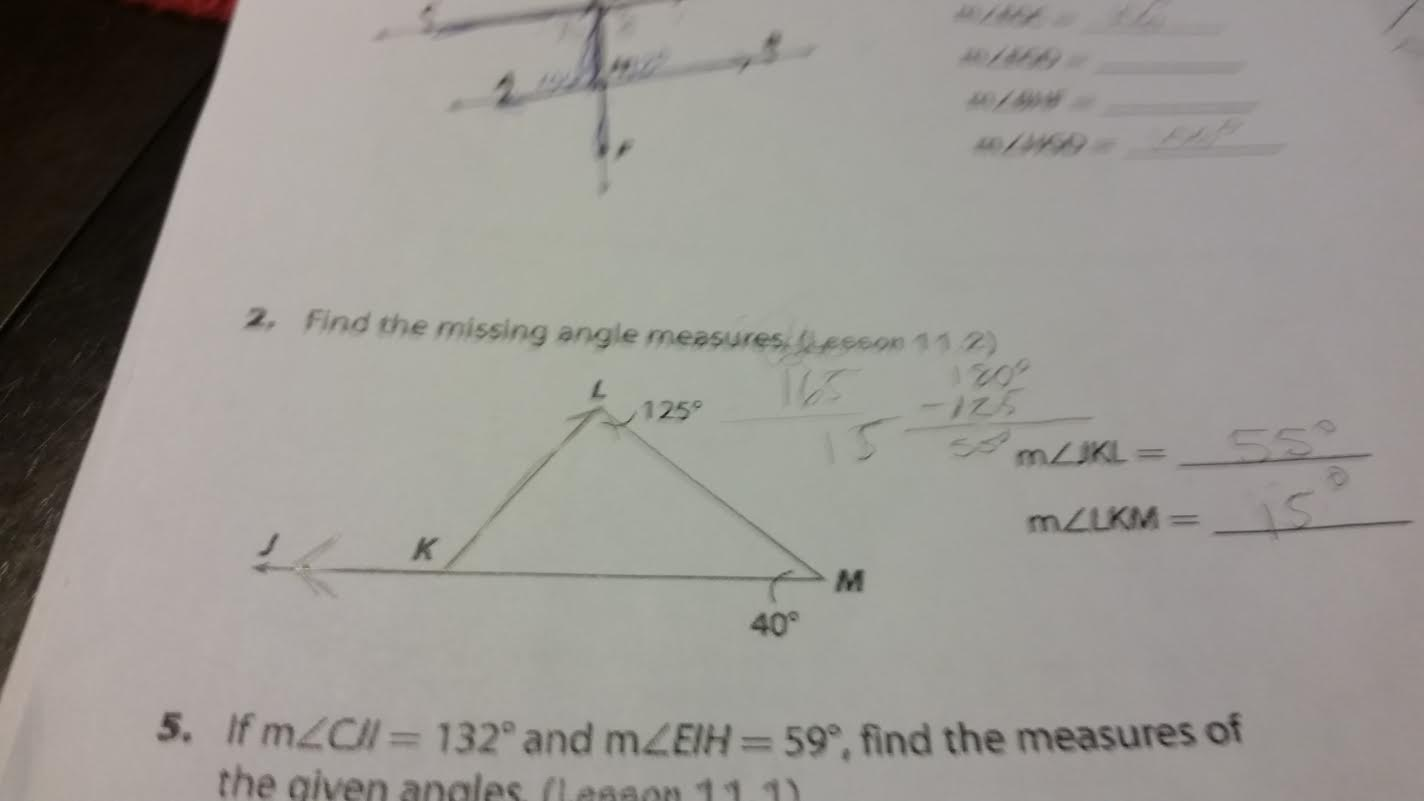 Image for Find the missing angle measures (Lesson 11.2) m angle JKL = m angle LKM = If m angle CJI = 132 degree and m