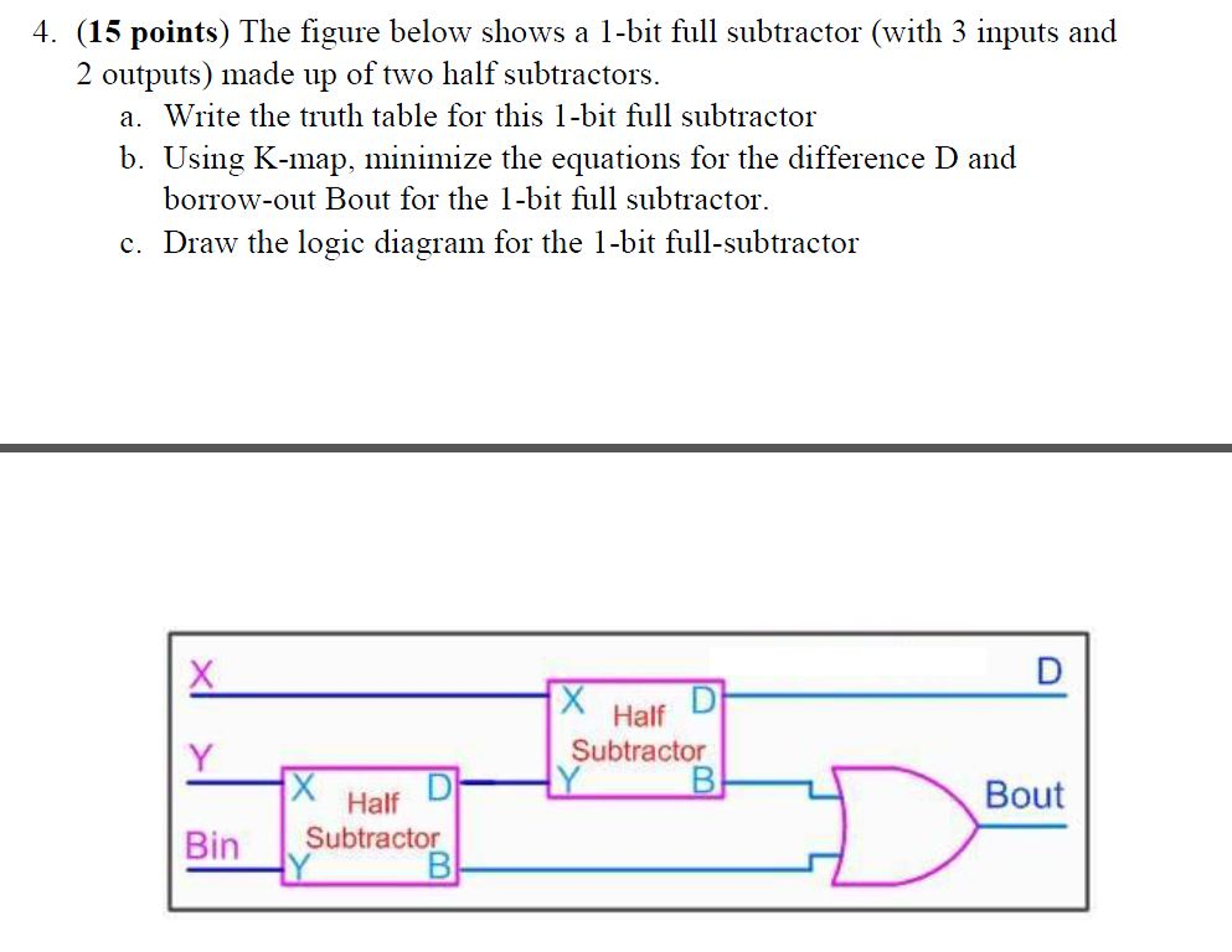 Solved Hello I Have Been Trying To Do This Exercise For Logic Diagram Of Full Subtractor Expert Answer