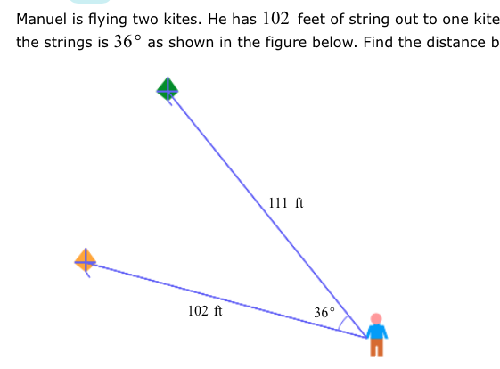 Solved Manuel Is Flying Two Kites He Has 102 Feet Of Str