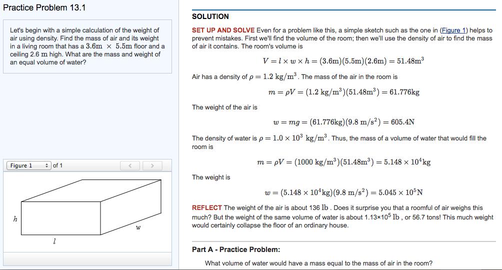 solved problem 13 1 part a practice problem what volum