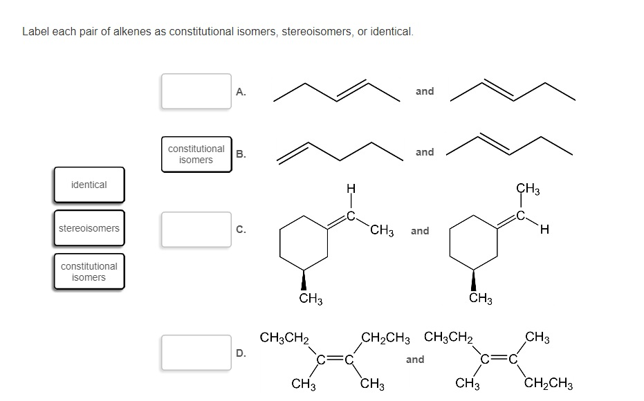 how to draw isomers of alkenes