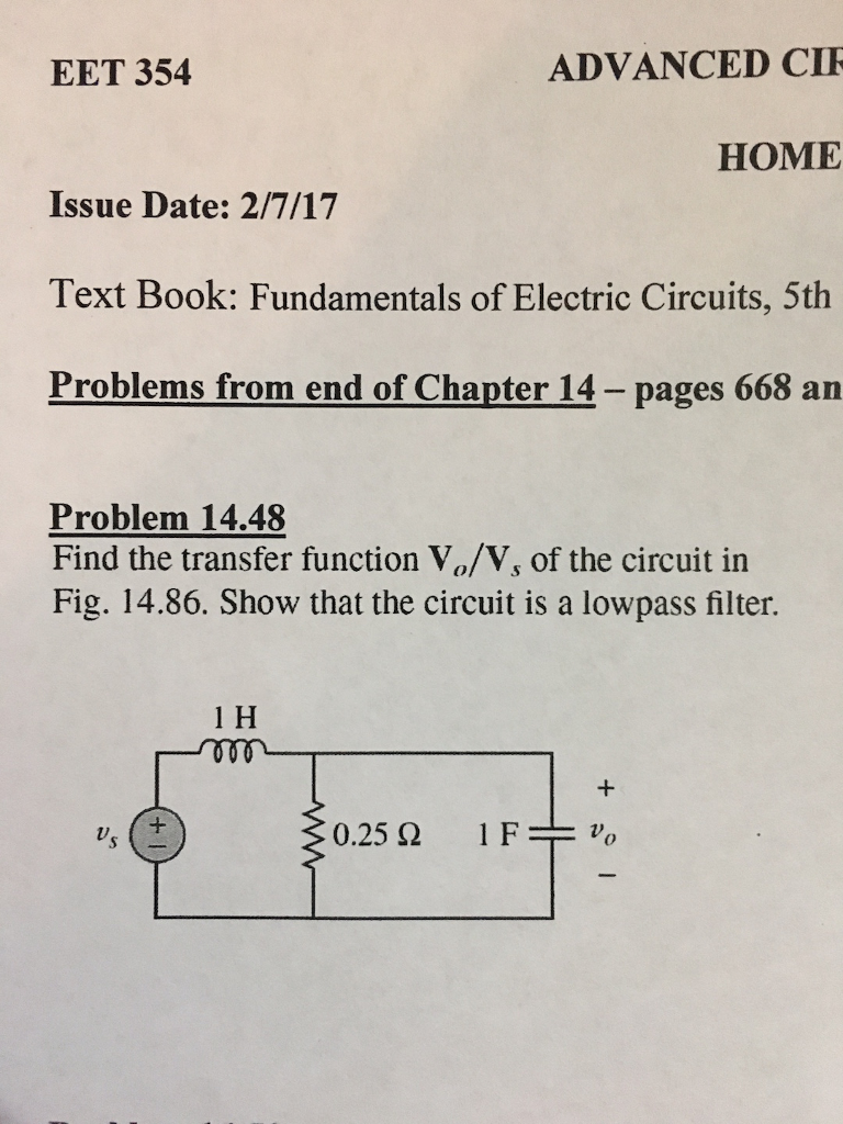 Solved Clear Plain English I Seen This Problem Performed Highpass Filters Electronics Textbook Advanced Cir Eet 354 Home Issue Date 2 7 17 Text Book