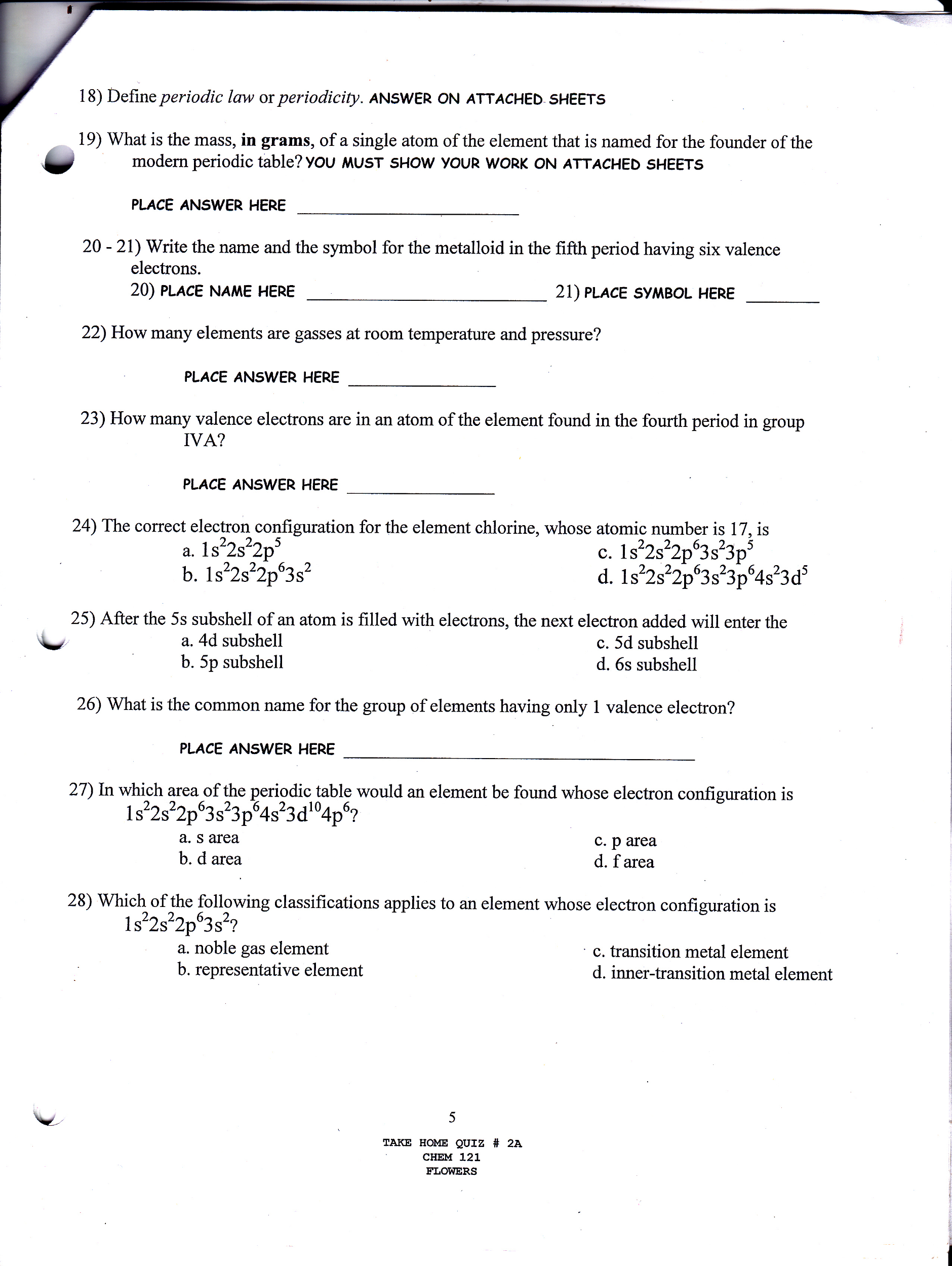 Chemistry archive november 02 2015 chegg image for 18 define periodic law or periodicity answer on attached sheets 19 biocorpaavc Choice Image
