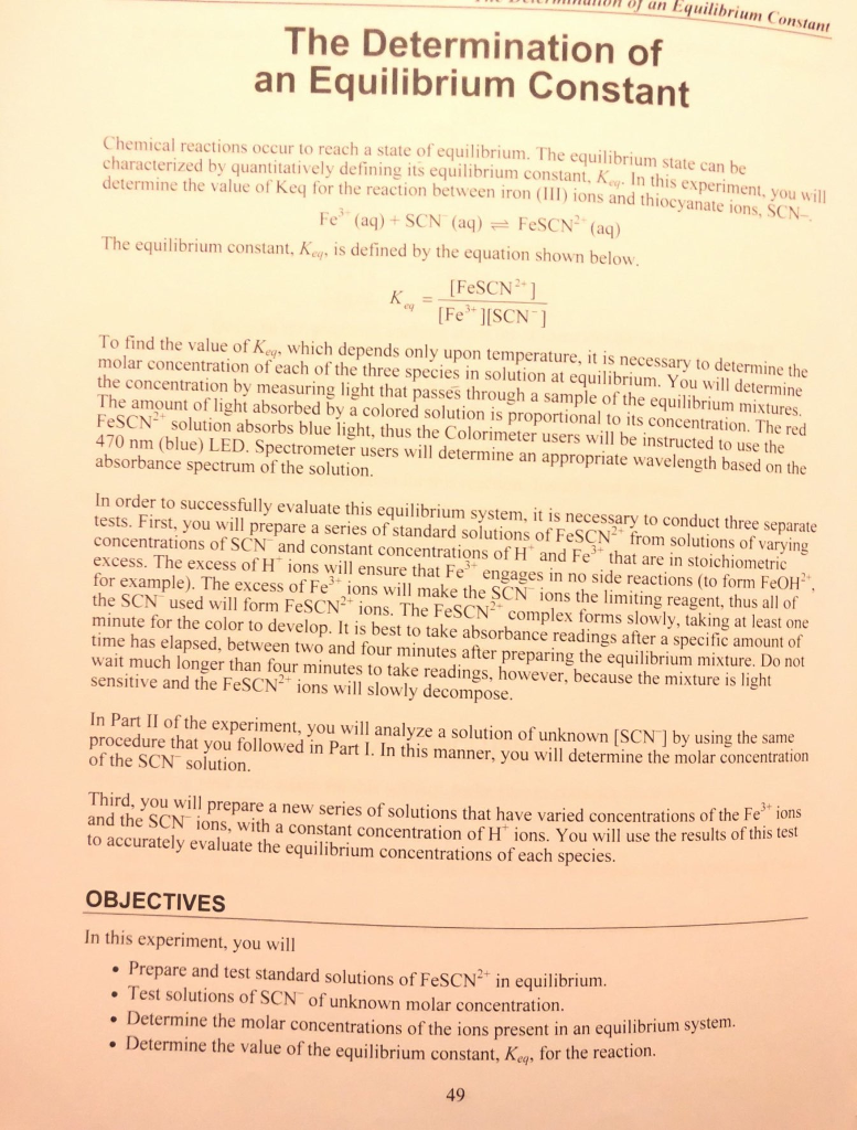 unDn an Equilibrium Constant The Determination of an Equilibrium Constant  Chemical reactions occur to reach a
